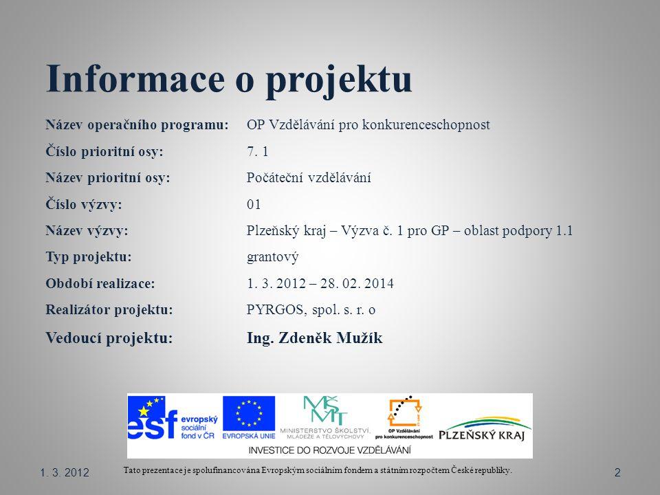Informace o projektu Název operačního programu: OP Vzdělávání pro konkurenceschopnost Číslo prioritní osy: 7.