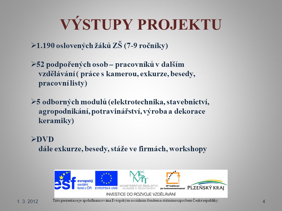 VÝSTUPY PROJEKTU Tato prezentace je spolufinancována Evropským sociálním fondem a státním rozpočtem České republiky.  1.190 oslovených žáků ZŠ (7-9 r