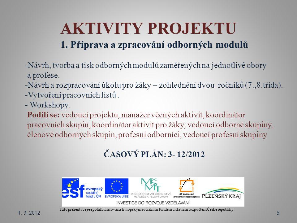 AKTIVITY PROJEKTU Tato prezentace je spolufinancována Evropským sociálním fondem a státním rozpočtem České republiky. 1. Příprava a zpracování odborný