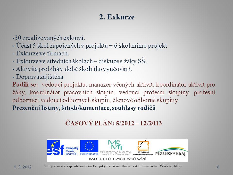 2. Exkurze Tato prezentace je spolufinancována Evropským sociálním fondem a státním rozpočtem České republiky. -30 zrealizovaných exkurzí. - Účast 5 š