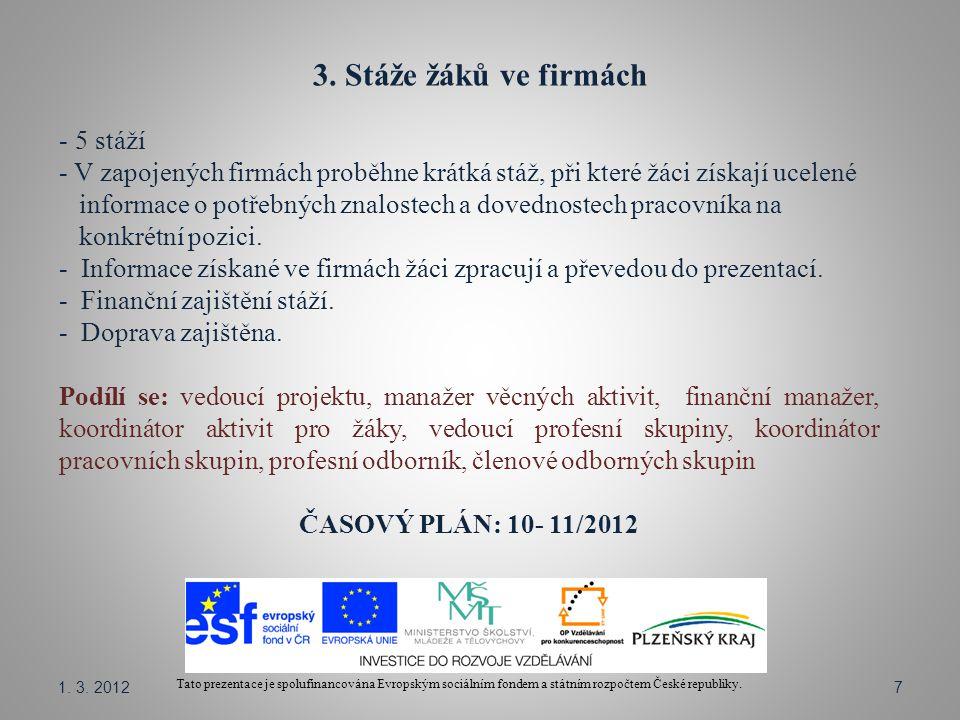 3. Stáže žáků ve firmách Tato prezentace je spolufinancována Evropským sociálním fondem a státním rozpočtem České republiky. - 5 stáží - V zapojených