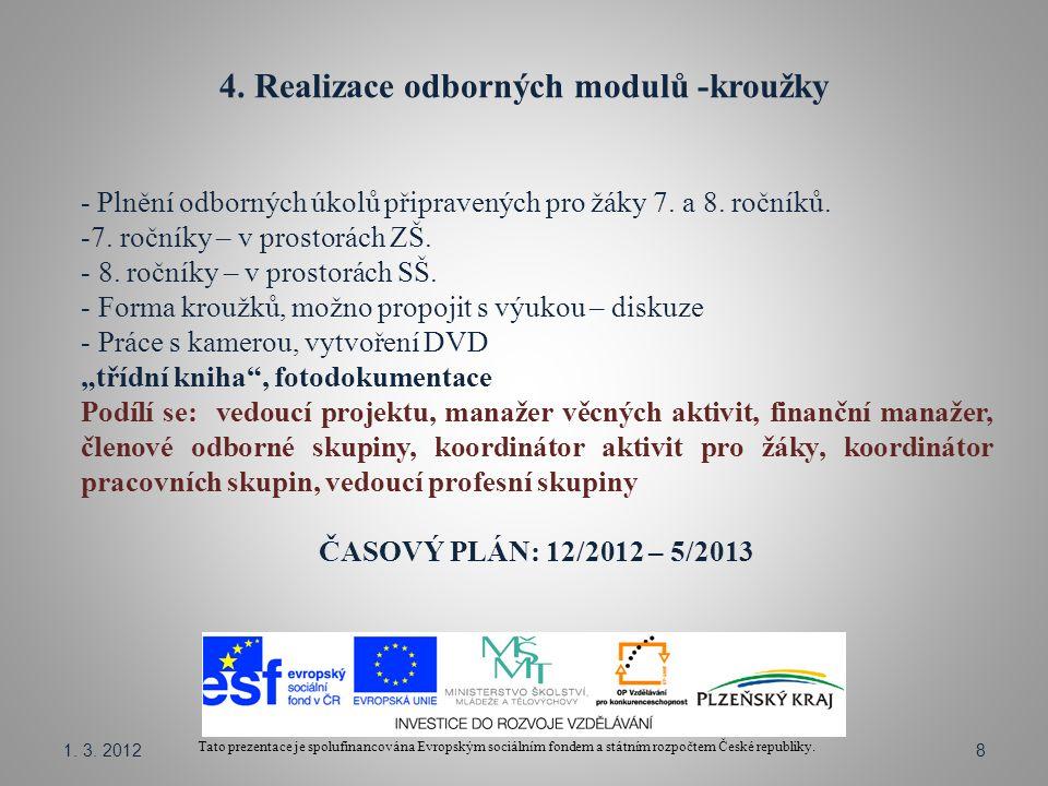 4. Realizace odborných modulů -kroužky Tato prezentace je spolufinancována Evropským sociálním fondem a státním rozpočtem České republiky. - Plnění od