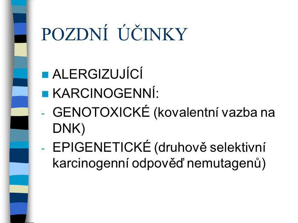 POZDNÍ ÚČINKY  ALERGIZUJÍCÍ  KARCINOGENNÍ: - GENOTOXICKÉ (kovalentní vazba na DNK) - EPIGENETICKÉ (druhově selektivní karcinogenní odpověď nemutagen