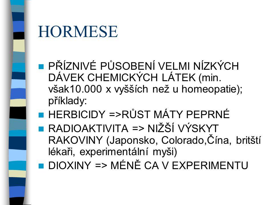 HORMESE  PŘÍZNIVÉ PŮSOBENÍ VELMI NÍZKÝCH DÁVEK CHEMICKÝCH LÁTEK (min. však10.000 x vyšších než u homeopatie); příklady:  HERBICIDY =>RŮST MÁTY PEPRN