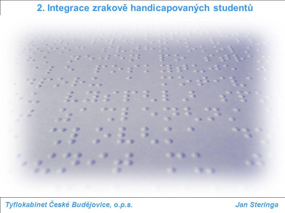 2. Integrace zrakově handicapovaných studentů Tyflokabinet České Budějovice, o.p.s.Jan Steringa
