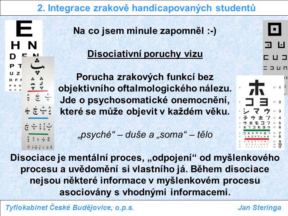 Na co jsem minule zapomněl :-) Disociativní poruchy vizu Porucha zrakových funkcí bez objektivního oftalmologického nálezu. Jde o psychosomatické onem