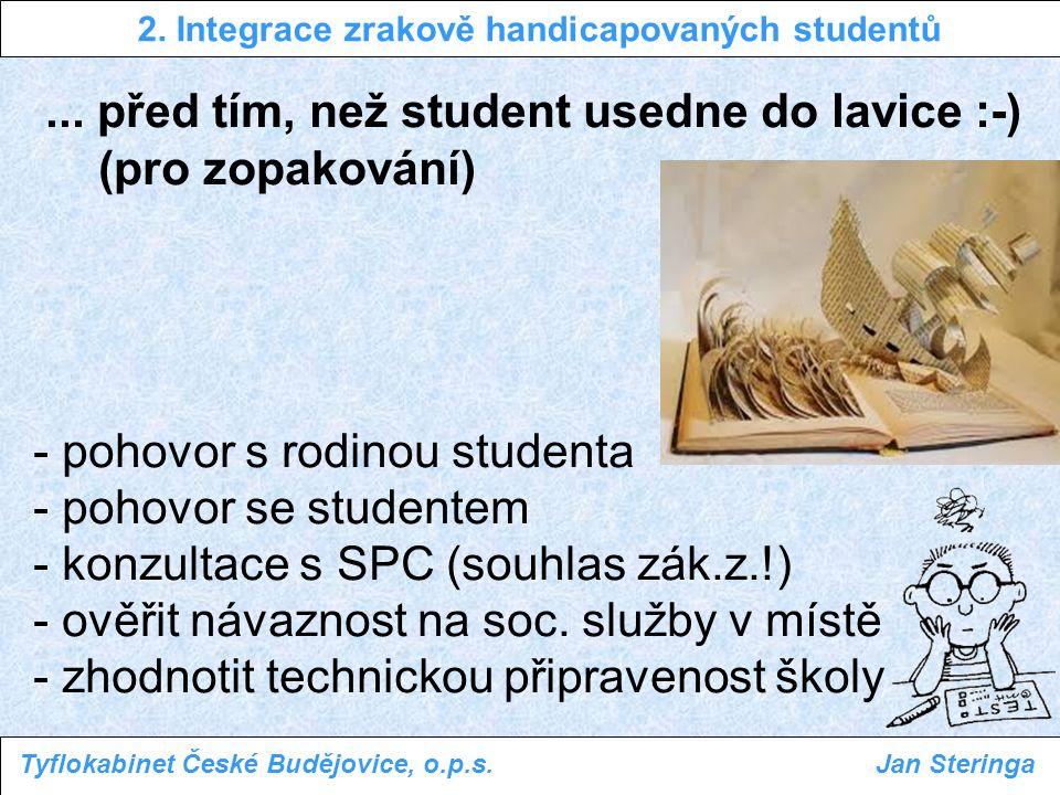 ... před tím, než student usedne do lavice :-) (pro zopakování) - pohovor s rodinou studenta - pohovor se studentem - konzultace s SPC (souhlas zák.z.