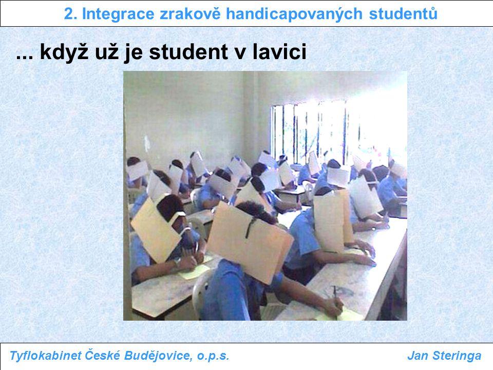 ... když už je student v lavici 2. Integrace zrakově handicapovaných studentů Tyflokabinet České Budějovice, o.p.s.Jan Steringa