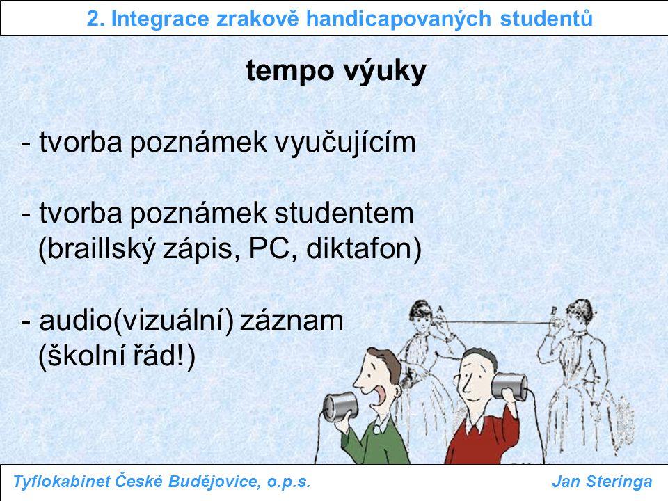 tempo výuky - tvorba poznámek vyučujícím - tvorba poznámek studentem (braillský zápis, PC, diktafon) - audio(vizuální) záznam (školní řád!) 2. Integra