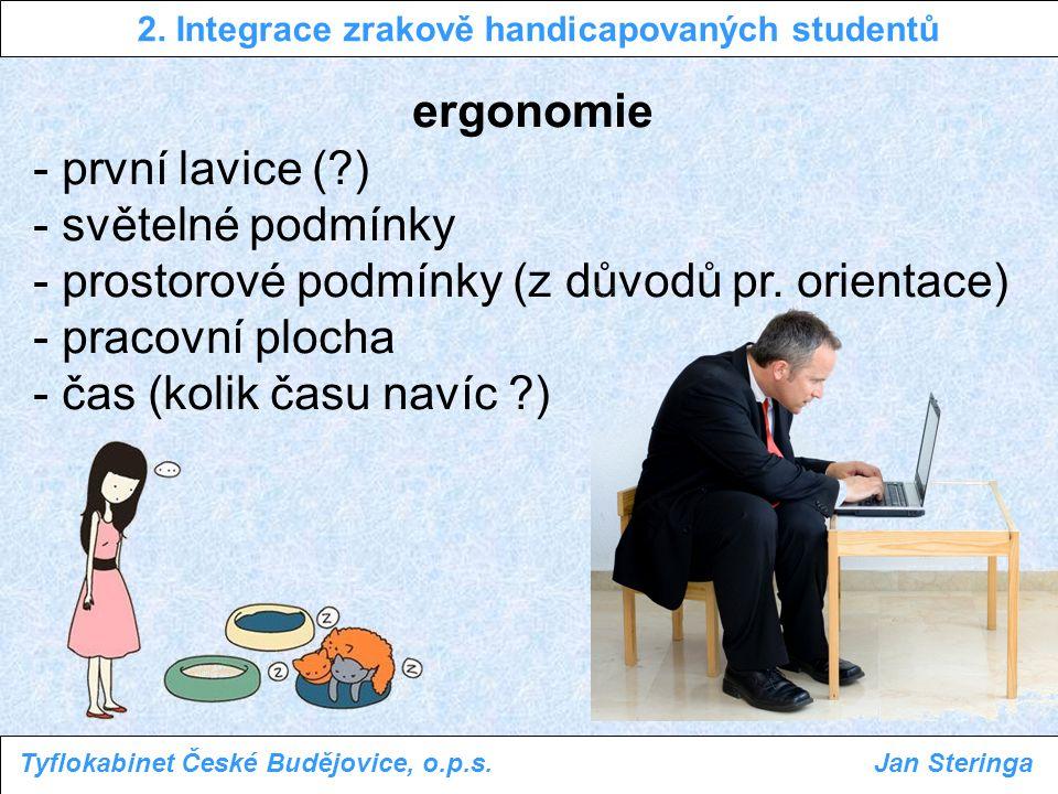 ergonomie - první lavice (?) - světelné podmínky - prostorové podmínky (z důvodů pr. orientace) - pracovní plocha - čas (kolik času navíc ?) 2. Integr