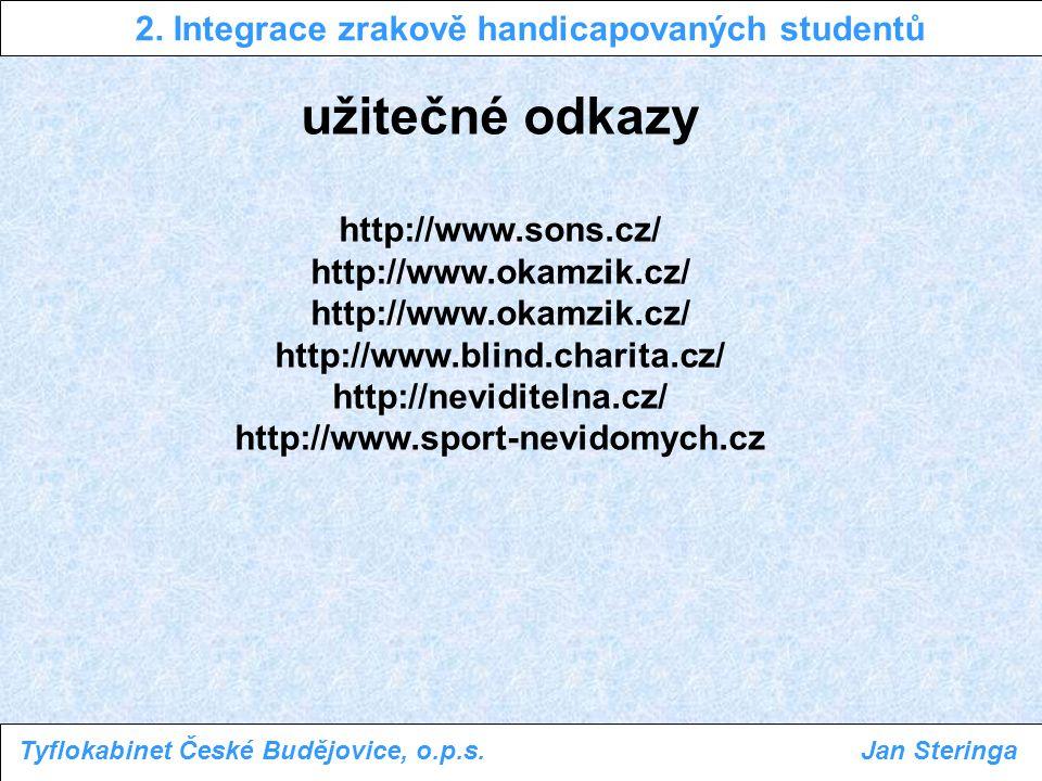 2. Integrace zrakově handicapovaných studentů Tyflokabinet České Budějovice, o.p.s.Jan Steringa užitečné odkazy http://www.sons.cz/ http://www.okamzik