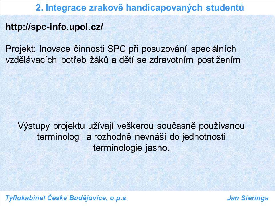http://spc-info.upol.cz/ Metodika práce se žákem se zrakovým postižením Pavlína Baslerová a kolektiv 2.
