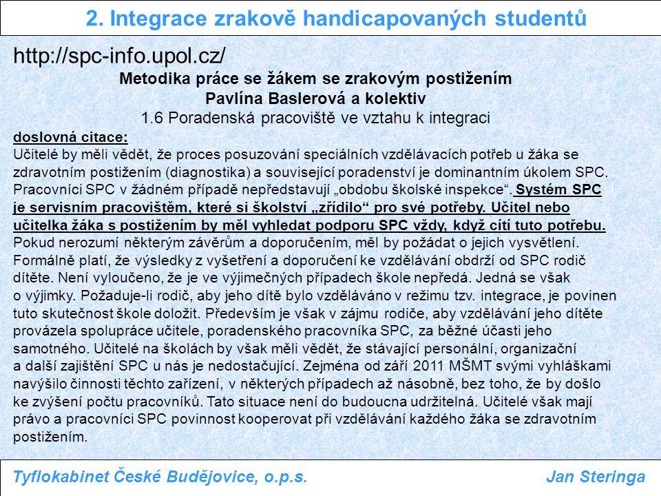 http://spc-info.upol.cz/ Metodika práce se žákem se zrakovým postižením Pavlína Baslerová a kolektiv 1.6 Poradenská pracoviště ve vztahu k integraci d