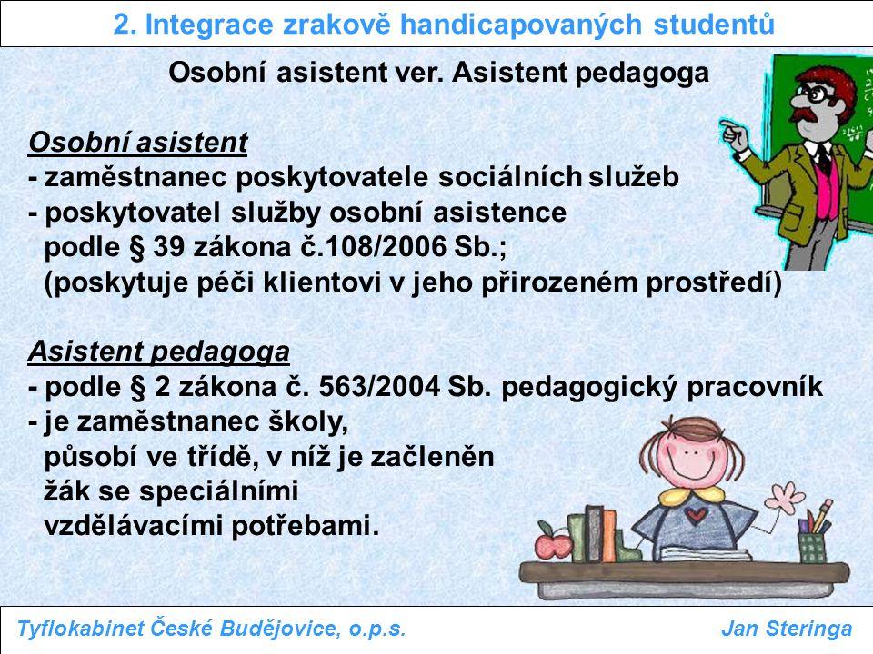 Osobní asistent ver. Asistent pedagoga Osobní asistent - zaměstnanec poskytovatele sociálních služeb - poskytovatel služby osobní asistence podle § 39