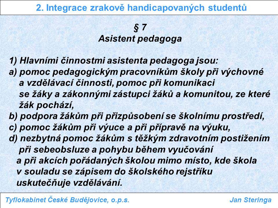 tempo výuky - tvorba poznámek vyučujícím - tvorba poznámek studentem (braillský zápis, PC, diktafon) - audio(vizuální) záznam (školní řád!) 2.