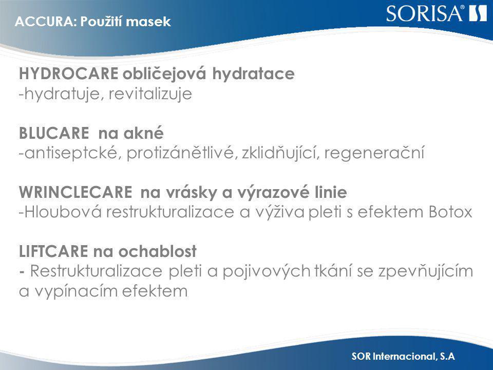 SOR Internacional, S.A HYDROCARE obličejová hydratace -hydratuje, revitalizuje BLUCARE na akné -antiseptcké, protizánětlivé, zklidňující, regenerační WRINCLECARE na vrásky a výrazové linie -Hloubová restrukturalizace a výživa pleti s efektem Botox LIFTCARE na ochablost - Restrukturalizace pleti a pojivových tkání se zpevňujícím a vypínacím efektem ACCURA: Použití masek