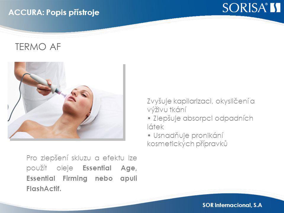 SOR Internacional, S.A ACCURA + gelová maska = Elektoporace ELEKTROPORACE s maskou HydroCare, WrinkleCare, BlueCare, LiftCare.