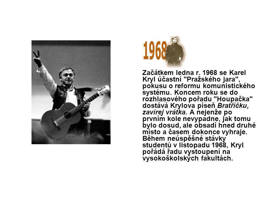 Karel Kryl se stává slavným.Dostává angažmá v Semaforu i ve Viole, zpívá i na Slovensku.