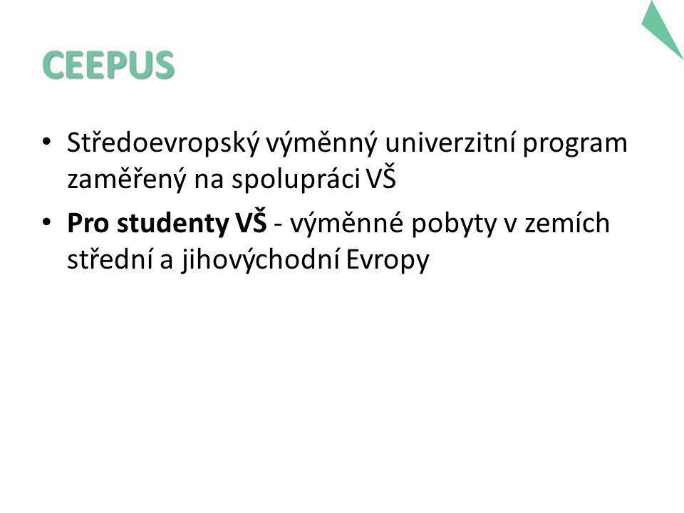 CEEPUS • Středoevropský výměnný univerzitní program zaměřený na spolupráci VŠ • Pro studenty VŠ - výměnné pobyty v zemích střední a jihovýchodní Evropy