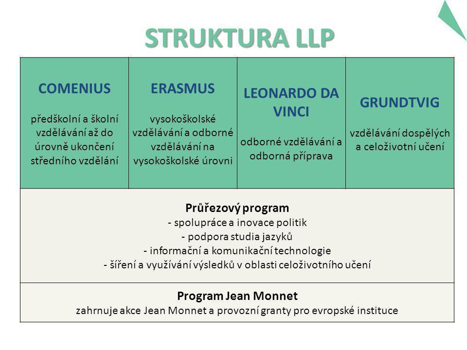 STRUKTURA LLP COMENIUS předškolní a školní vzdělávání až do úrovně ukončení středního vzdělání ERASMUS vysokoškolské vzdělávání a odborné vzdělávání na vysokoškolské úrovni LEONARDO DA VINCI odborné vzdělávání a odborná příprava GRUNDTVIG vzdělávání dospělých a celoživotní učení Průřezový program - spolupráce a inovace politik - podpora studia jazyků - informační a komunikační technologie - šíření a využívání výsledků v oblasti celoživotního učení Program Jean Monnet zahrnuje akce Jean Monnet a provozní granty pro evropské instituce