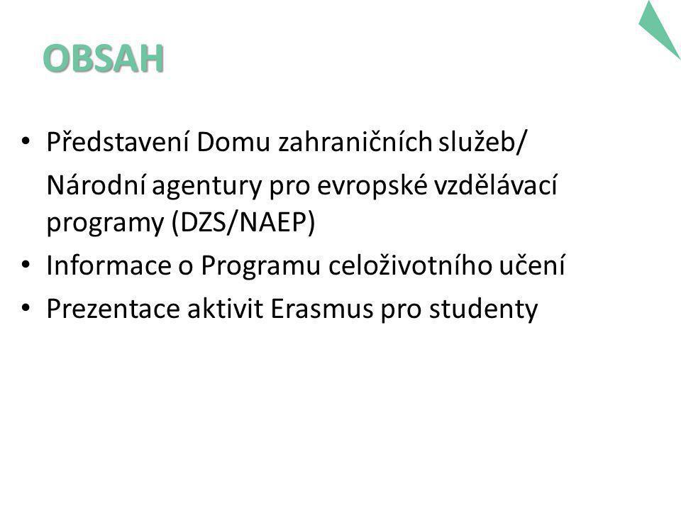 OBSAH • Představení Domu zahraničních služeb/ Národní agentury pro evropské vzdělávací programy (DZS/NAEP) • Informace o Programu celoživotního učení • Prezentace aktivit Erasmus pro studenty