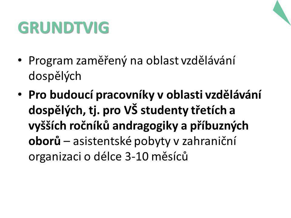 GRUNDTVIG • Program zaměřený na oblast vzdělávání dospělých • Pro budoucí pracovníky v oblasti vzdělávání dospělých, tj.