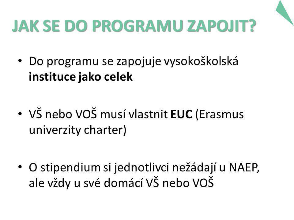 JAK SE DO PROGRAMU ZAPOJIT? • Do programu se zapojuje vysokoškolská instituce jako celek • VŠ nebo VOŠ musí vlastnit EUC (Erasmus univerzity charter)