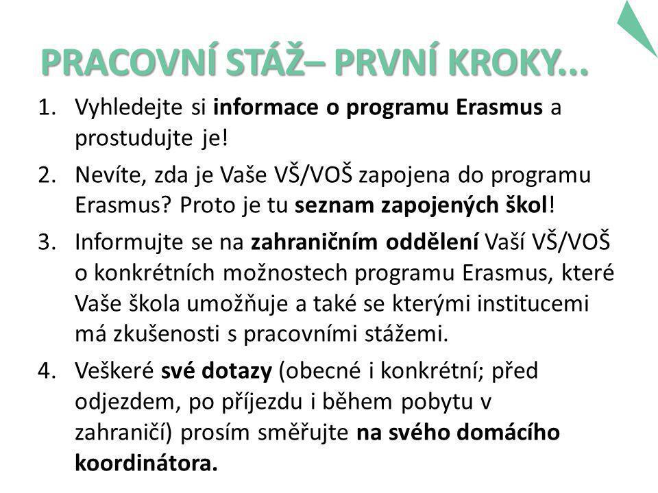 PRACOVNÍ STÁŽ– PRVNÍ KROKY... 1.Vyhledejte si informace o programu Erasmus a prostudujte je.