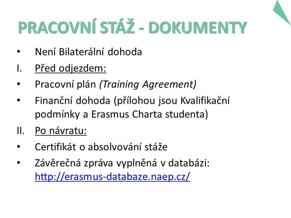 PRACOVNÍ STÁŽ - DOKUMENTY • Není Bilaterální dohoda I.Před odjezdem: • Pracovní plán (Training Agreement) • Finanční dohoda (přílohou jsou Kvalifikační podmínky a Erasmus Charta studenta) II.Po návratu: • Certifikát o absolvování stáže • Závěrečná zpráva vyplněná v databázi: http://erasmus-databaze.naep.cz/ http://erasmus-databaze.naep.cz/
