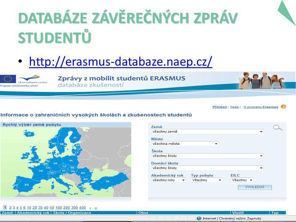 DATABÁZE ZÁVĚREČNÝCH ZPRÁV STUDENTŮ • http://erasmus-databaze.naep.cz/ http://erasmus-databaze.naep.cz/