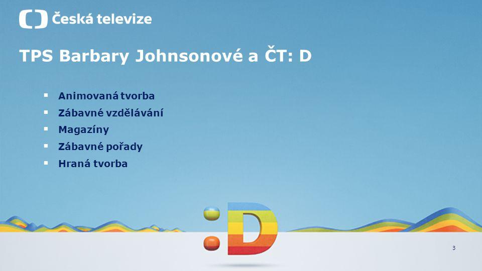 3 TPS Barbary Johnsonové a ČT: D  Animovaná tvorba  Zábavné vzdělávání  Magazíny  Zábavné pořady  Hraná tvorba