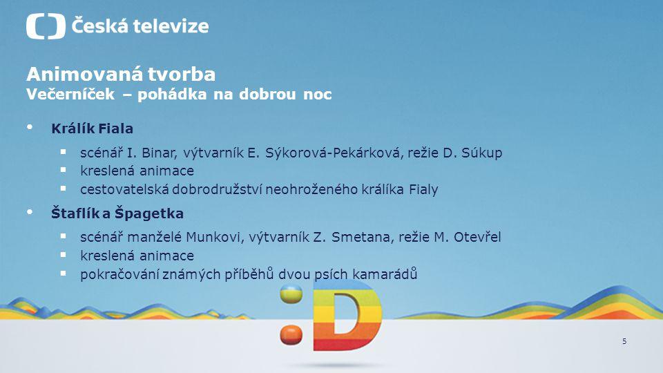 5 Animovaná tvorba Večerníček – pohádka na dobrou noc • Králík Fiala  scénář I. Binar, výtvarník E. Sýkorová-Pekárková, režie D. Súkup  kreslená ani