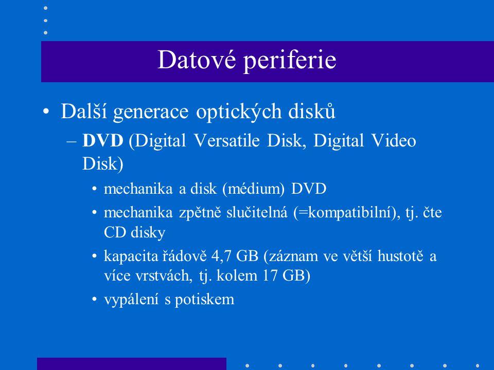 •Další generace optických disků –DVD (Digital Versatile Disk, Digital Video Disk) •mechanika a disk (médium) DVD •mechanika zpětně slučitelná (=kompat