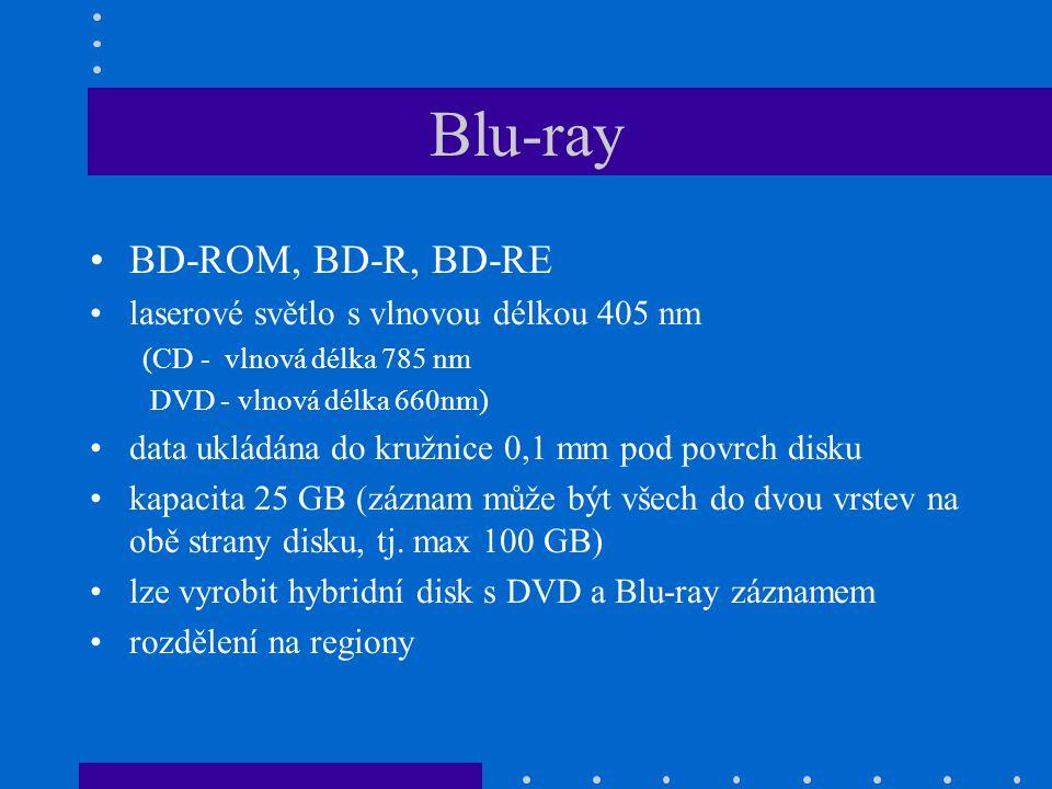 Blu-ray •BD-ROM, BD-R, BD-RE •laserové světlo s vlnovou délkou 405 nm (CD - vlnová délka 785 nm DVD - vlnová délka 660nm) •data ukládána do kružnice 0