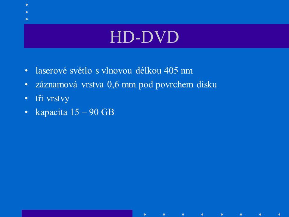 HD-DVD •laserové světlo s vlnovou délkou 405 nm •záznamová vrstva 0,6 mm pod povrchem disku •tři vrstvy •kapacita 15 – 90 GB