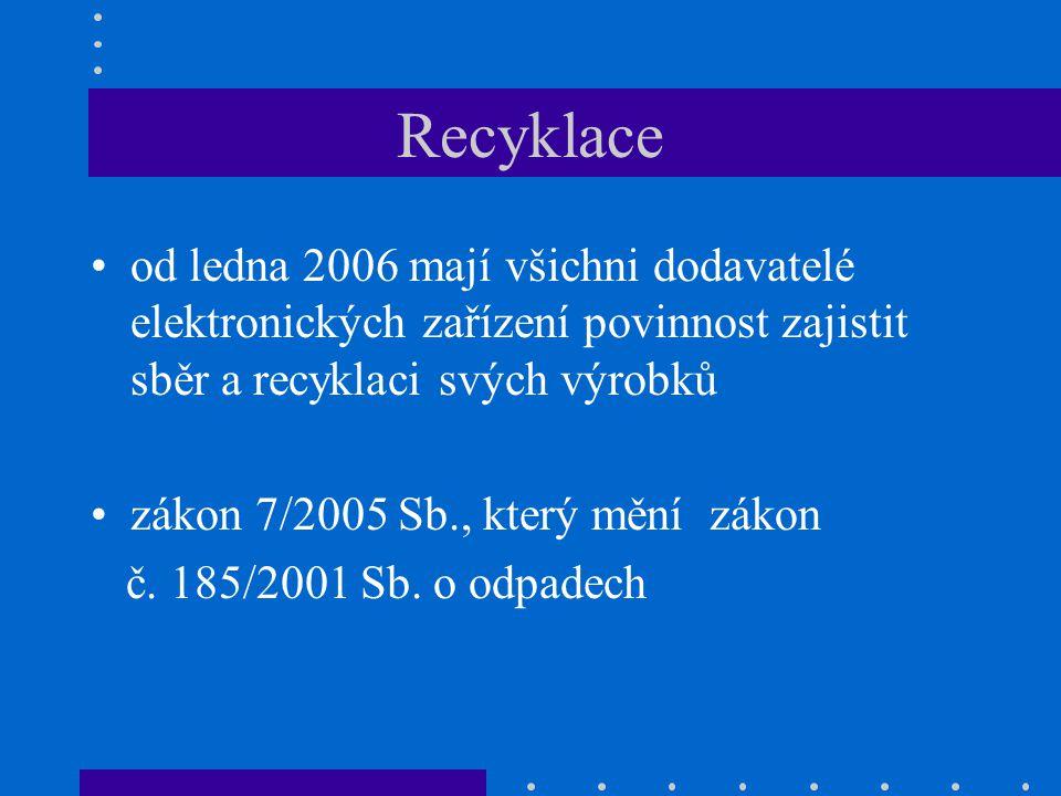 Recyklace •od ledna 2006 mají všichni dodavatelé elektronických zařízení povinnost zajistit sběr a recyklaci svých výrobků •zákon 7/2005 Sb., který mě