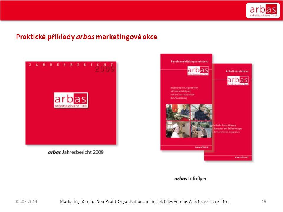 Praktické příklady arbas marketingové akce 1803.07.2014 Marketing für eine Non-Profit Organisation am Beispiel des Vereins Arbeitsassistenz Tirol