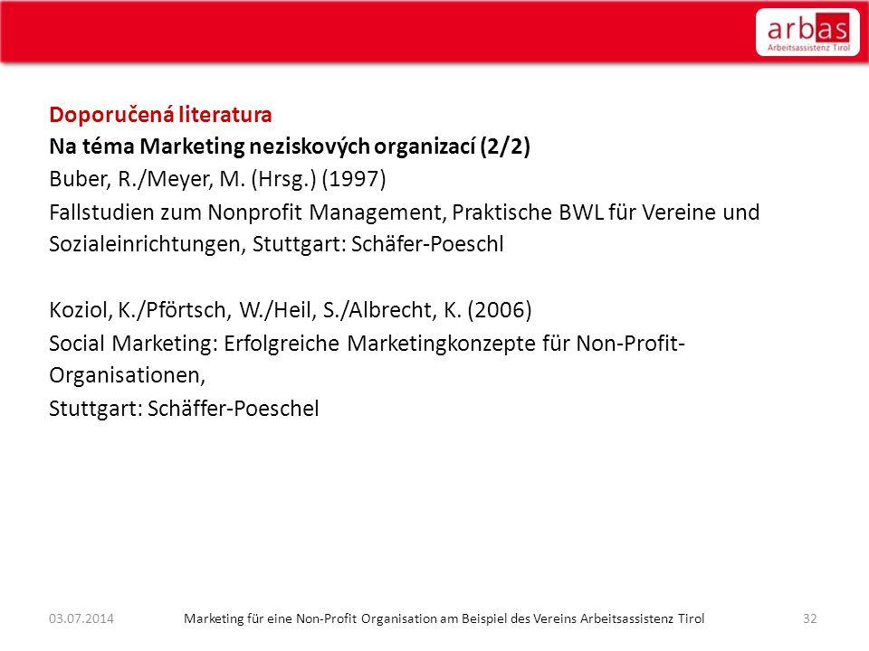 Doporučená literatura Na téma Marketing neziskových organizací (2/2) Buber, R./Meyer, M. (Hrsg.) (1997) Fallstudien zum Nonprofit Management, Praktisc