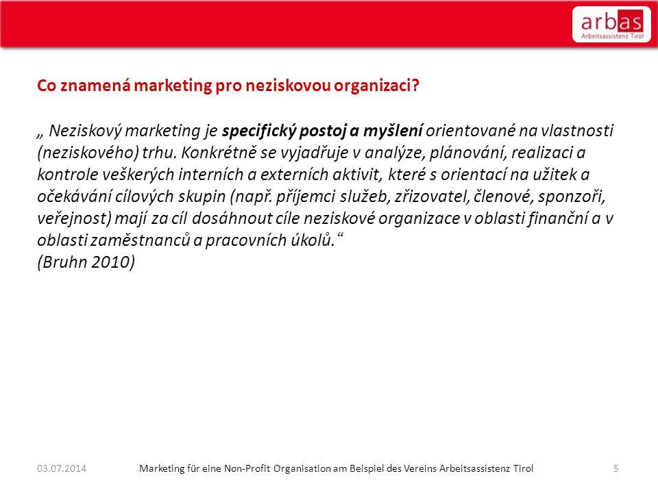 2603.07.2014 Marketing für eine Non-Profit Organisation am Beispiel des Vereins Arbeitsassistenz Tirol Rozpočtový plán pro externí marketingové akce