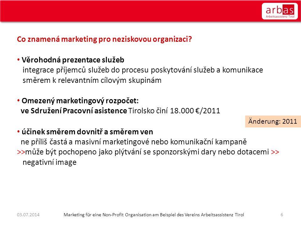 Co znamená marketing pro neziskovou organizaci? • Věrohodná prezentace služeb integrace příjemců služeb do procesu poskytování služeb a komunikace smě