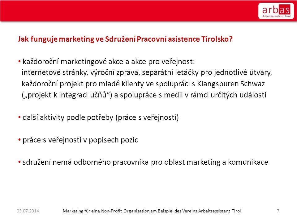 Jak funguje marketing ve Sdružení Pracovní asistence Tirolsko? • každoroční marketingové akce a akce pro veřejnost: internetové stránky, výroční zpráv
