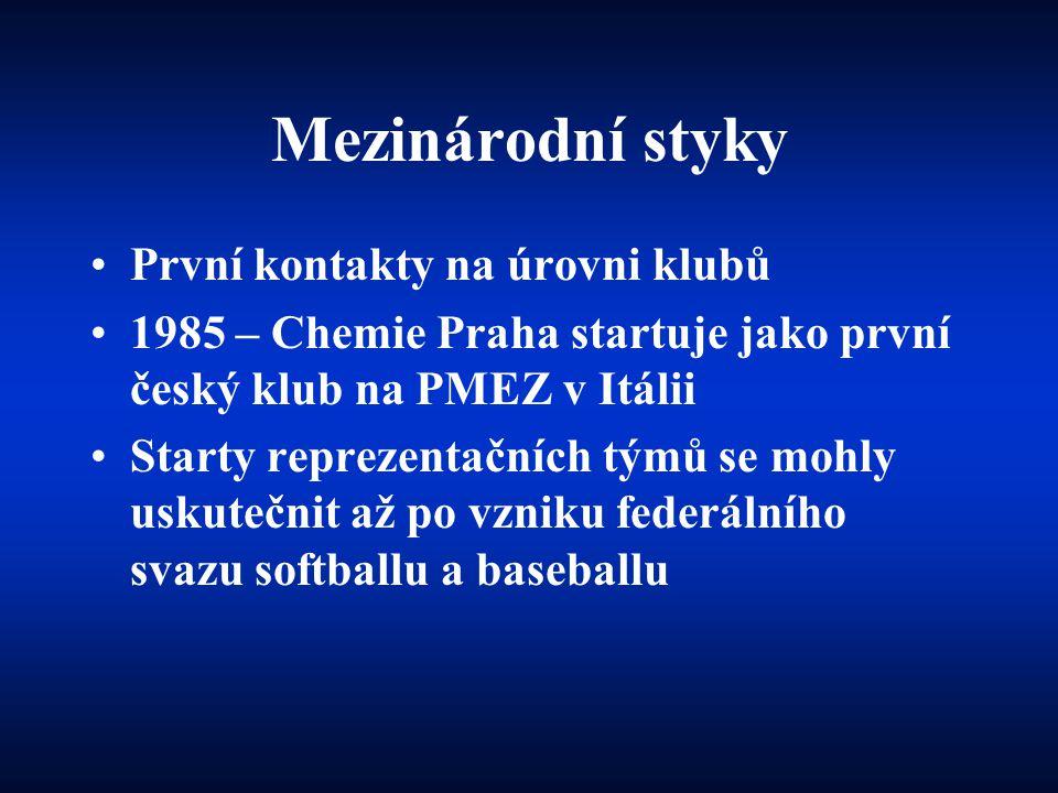 Mezinárodní styky •První kontakty na úrovni klubů •1985 – Chemie Praha startuje jako první český klub na PMEZ v Itálii •Starty reprezentačních týmů se