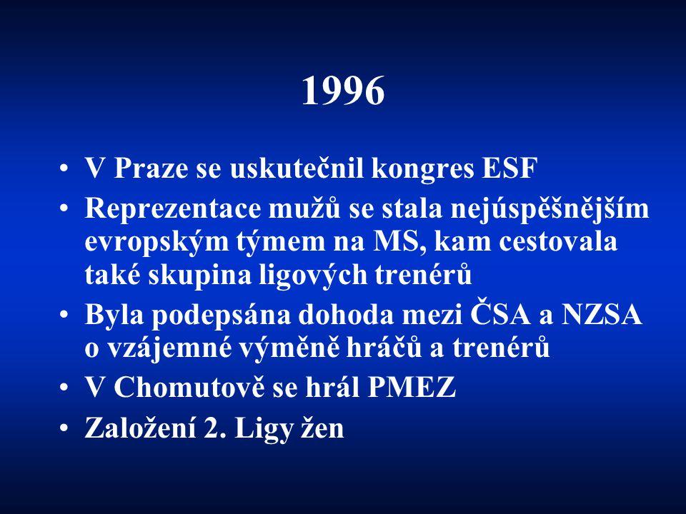 1996 •V Praze se uskutečnil kongres ESF •Reprezentace mužů se stala nejúspěšnějším evropským týmem na MS, kam cestovala také skupina ligových trenérů
