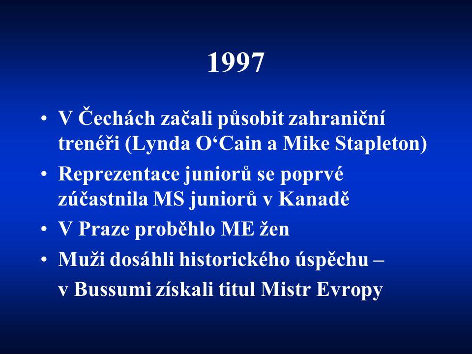 1997 •V Čechách začali působit zahraniční trenéři (Lynda O'Cain a Mike Stapleton) •Reprezentace juniorů se poprvé zúčastnila MS juniorů v Kanadě •V Pr