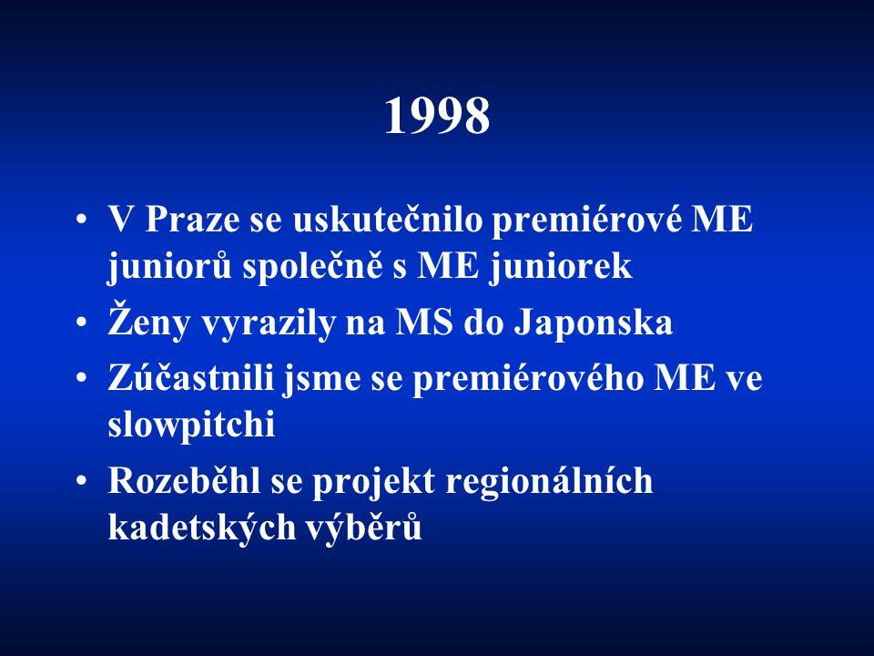 1998 •V Praze se uskutečnilo premiérové ME juniorů společně s ME juniorek •Ženy vyrazily na MS do Japonska •Zúčastnili jsme se premiérového ME ve slow
