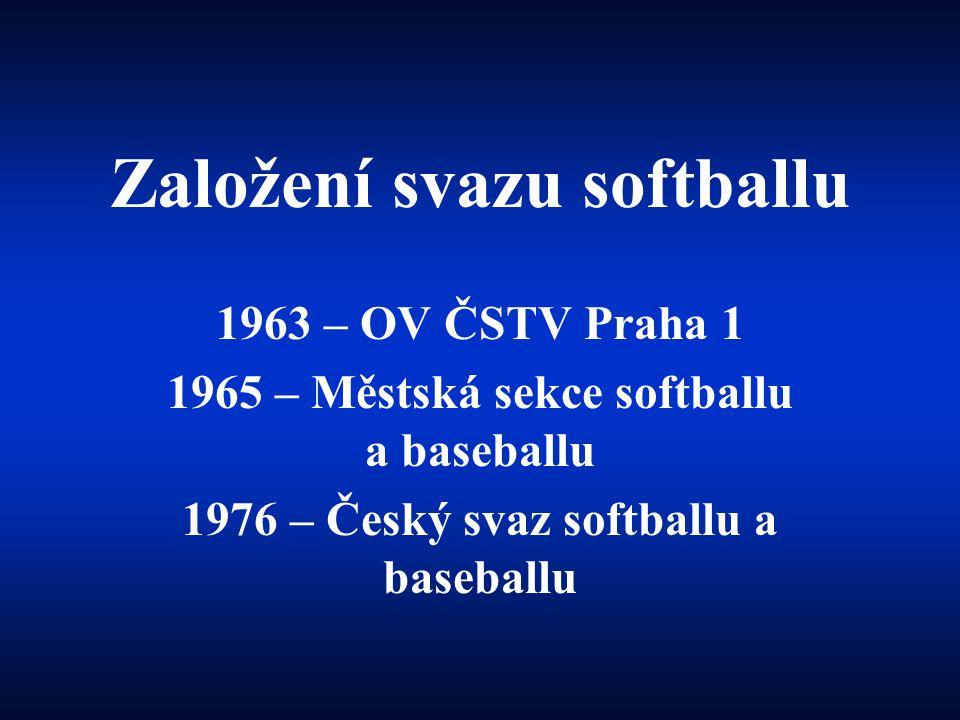 Založení svazu softballu 1963 – OV ČSTV Praha 1 1965 – Městská sekce softballu a baseballu 1976 – Český svaz softballu a baseballu