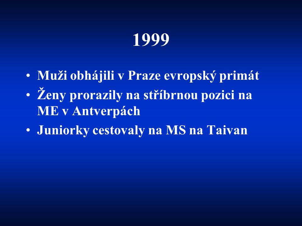 1999 •Muži obhájili v Praze evropský primát •Ženy prorazily na stříbrnou pozici na ME v Antverpách •Juniorky cestovaly na MS na Taivan