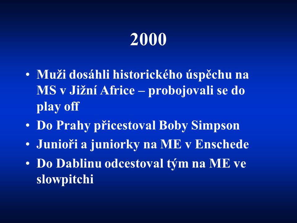 2000 •Muži dosáhli historického úspěchu na MS v Jižní Africe – probojovali se do play off •Do Prahy přicestoval Boby Simpson •Junioři a juniorky na ME v Enschede •Do Dablinu odcestoval tým na ME ve slowpitchi