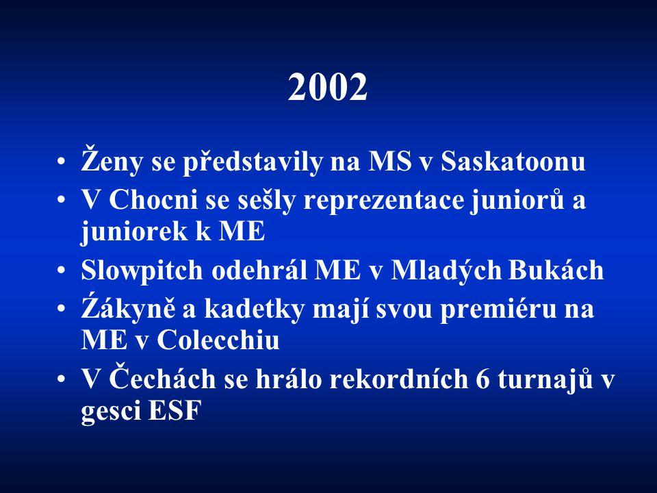 2002 •Ženy se představily na MS v Saskatoonu •V Chocni se sešly reprezentace juniorů a juniorek k ME •Slowpitch odehrál ME v Mladých Bukách •Źákyně a