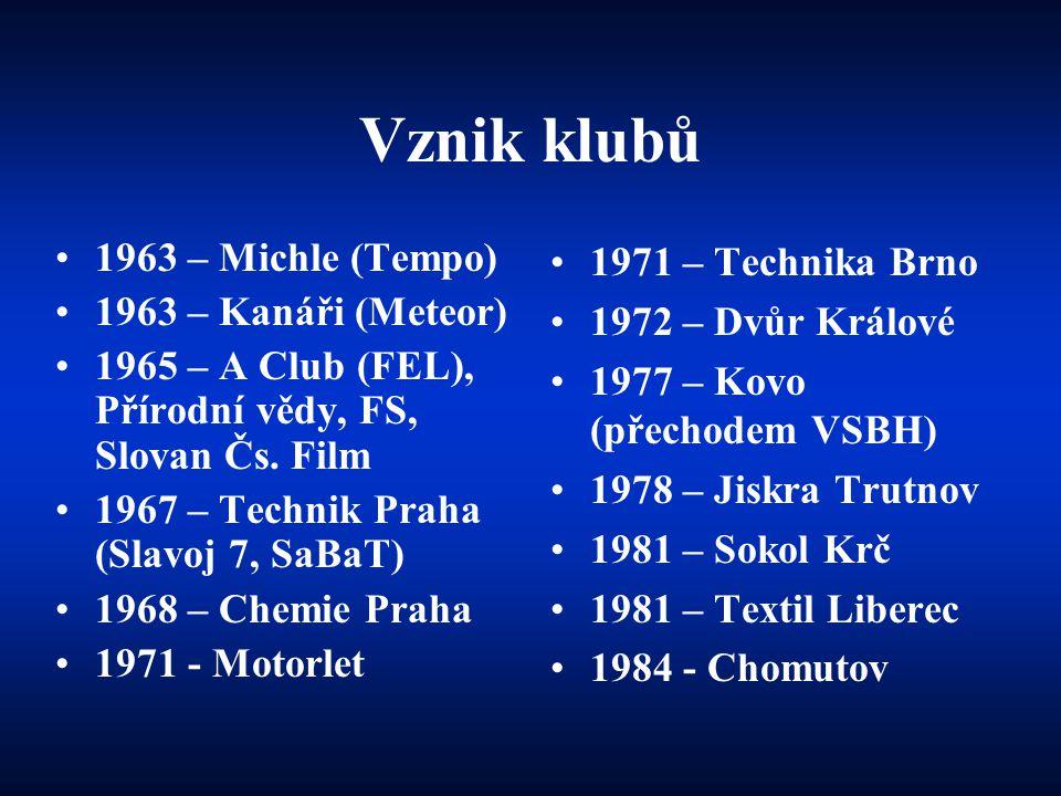 Vznik klubů •1963 – Michle (Tempo) •1963 – Kanáři (Meteor) •1965 – A Club (FEL), Přírodní vědy, FS, Slovan Čs. Film •1967 – Technik Praha (Slavoj 7, S